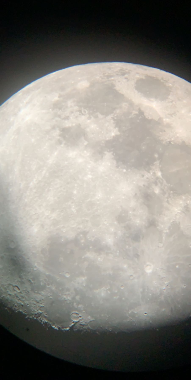 A picture of the moon i took through a  telescope at SBO observatory in Boulder