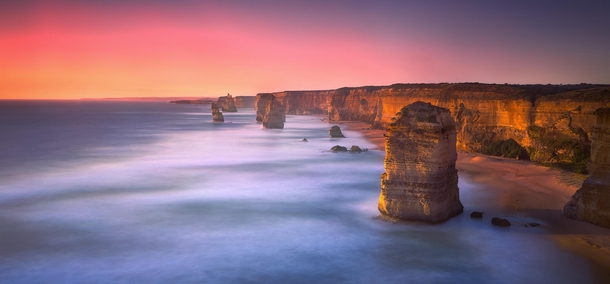 Apostles - from the Australian Great Ocean Road  second exposure at sunset  photo by Joshua Zhang