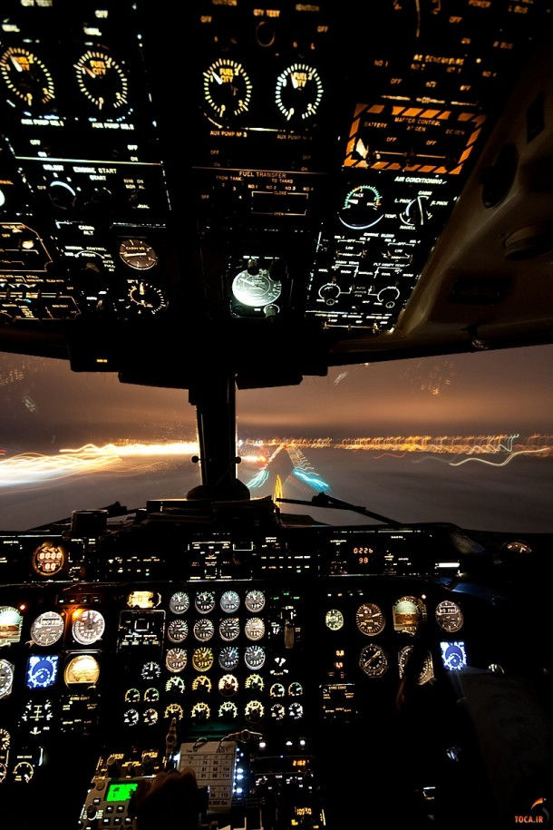 cockpit view of landing at night