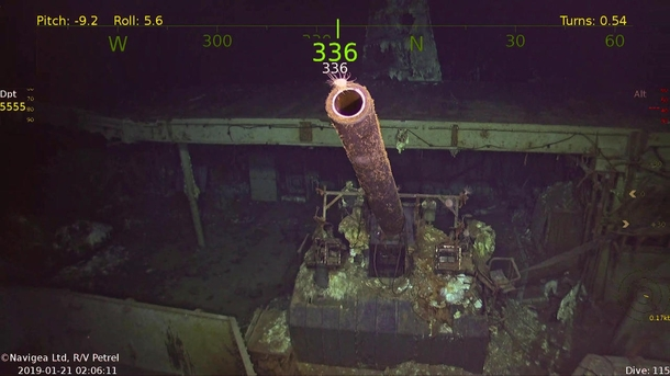 inch gun on the recently discovered USS Hornet Wreckage