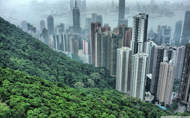 of the land in Hong Kong is protected by the govt and remains untouched The densely populated cityscape extends right to the border