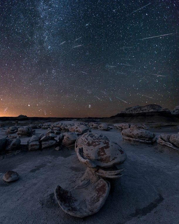 Perseids meteor shower in BistiDe-Na-Zin Wilderness New Mexico by Greg Owens
