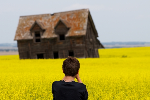 Year-Old Son amp Circa  Ranch House Melting into Canola Field