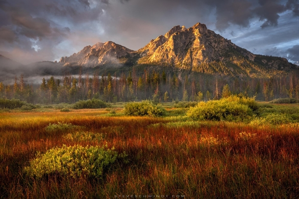 A beautiful morning after a night of intense thunderstorms in the Sawtooth Mountains of Idaho