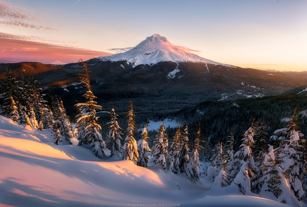 A beautiful winter sunrise from this past week atop Tom Dick amp Harry Mountain looking out at Mt Hood Oregon