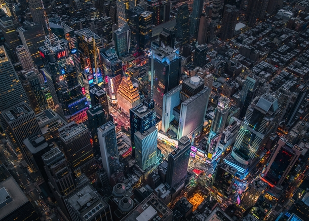A birds eye view of Times Square at night  Photographed by Justin Brown