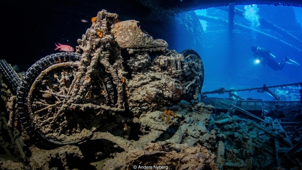 A British WWII BSA M motorbike in the hold of the Thistlegorm which lies off Egypt in the Red Sea Credit Anders Nyberg