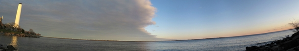 A cloud front passing over the northeastern end of Lake Ontario
