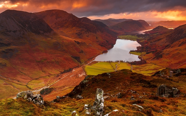 A colourful sunset on Buttermere Valley in the English Lake District  photo by Steve Thompson