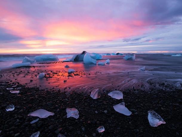 A day after scouting out Icelands Jkulsrln glacier lagoon Desai drove  minutes to arrive at the lagoon in time to capture the sunrise Dawn happens two hours before sunrise and usually last almost  minutes if there are no clouds  Photo by Hardik Desai