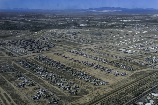 A few acres of abandonment th Aerospace Maintenance and Regeneration Group at Davis-Monthan Air Force Base in Tucson Ariz  US Navy photo by Mass Communication Specialist rd Class Amber PorterReleased