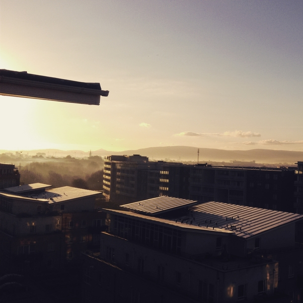 A frosty misty morning in Dublin Ireland The view here from my balcony