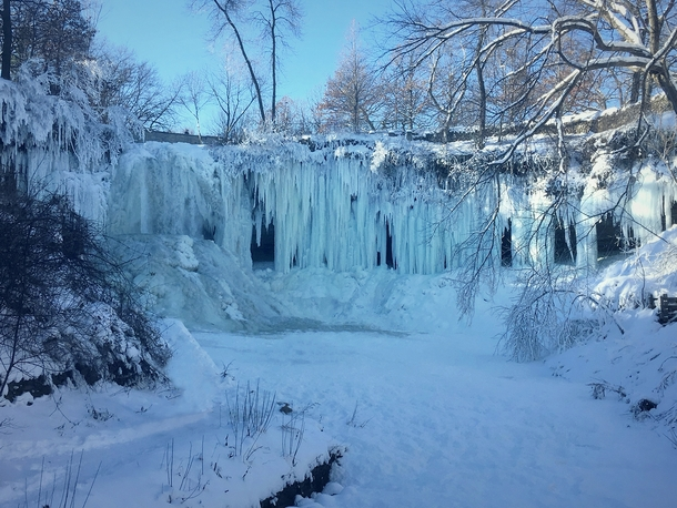 A frozen Minnehaha Falls MN this past winter Theyre all melted and flowing now