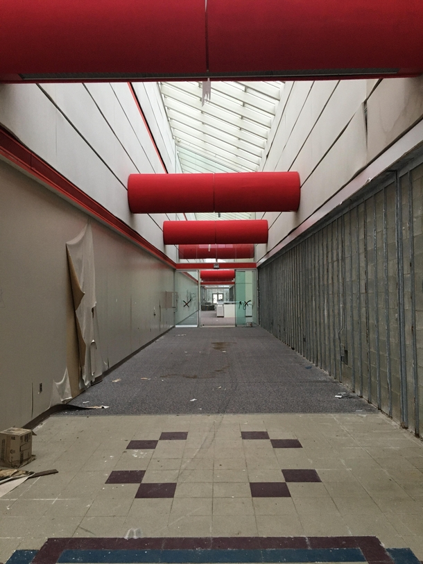 A hallway to the cafeteria at and abandoned IBM building