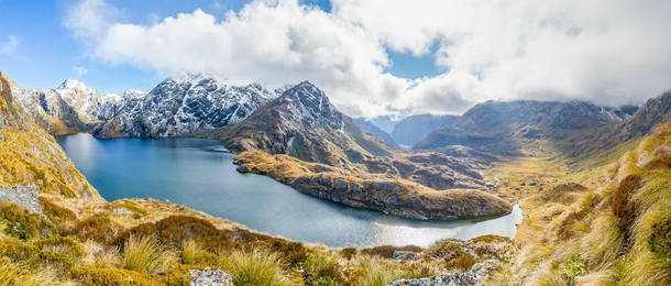 A panorama I took from the Southern Alps of New Zealand Lake Harris Routeburn Track