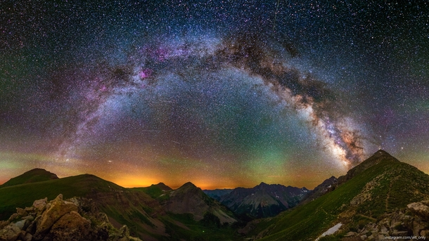 A panorama of the Milky Way from ft at Buckskin Pass Colorado