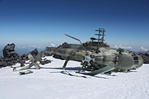 A Russian Mi- helicopter in a surprisingly good state considering it crashed against the east side of Mount Elbrus the highest mountain in Russia and Europe It was found by Mountaineer Ilya Yahsin at  feet