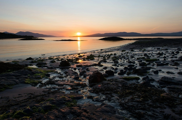A serene Scottish sunset taken from a beach in Argyll known as Wee Ganavan