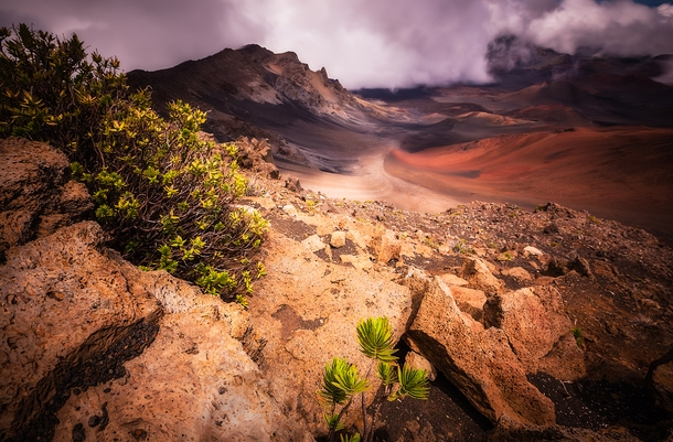 A short hike from the top of the volcano leads to a grand overview of the crater on Haleakula HI OC
