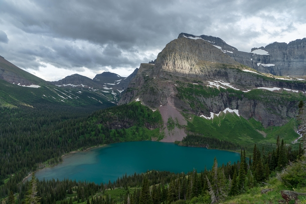 A splash of light on an otherwise overcast and rainy day in Glacier NP