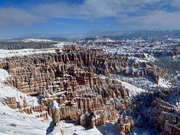 A sun soaked morning in a winter wonderland at Bryce Canyon National Park