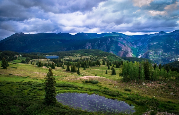 A view from a pass near The Million Dollar Highway Colorado USA