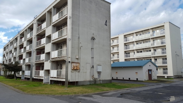 Abandoned apartment blocks next to a Japanese military base on the outskirts of Tokyo Matsudo-shi Kamagaya-shi Chiba  Albums in comments