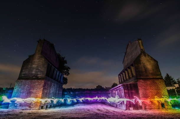 Abandoned apple barns in Northern California light painted with an LED strip x