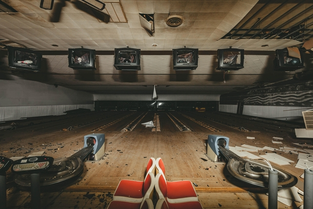 Abandoned bowling alley slowly being torn up