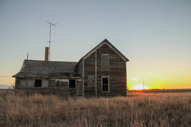 Abandoned Farm House Miles In The Middle Of Kansas At Sunrise Alex Person