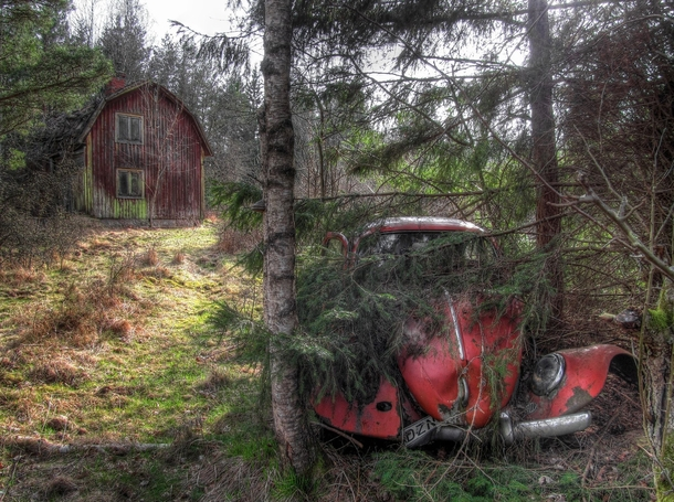 Abandoned House And Car In The Forest Northern Sweden