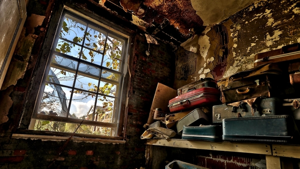 Abandoned luggage at Forest Haven childrens asylum in Laurel MD The asylum closed in  following numerous law suits photo by Darryl Moran