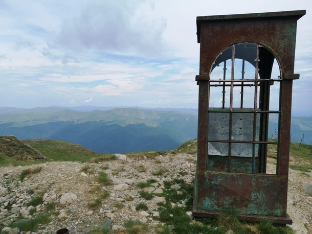 Abandoned phone booth on top of a mountain Romania