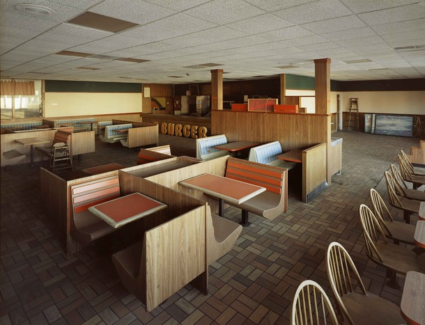 Abandoned s style Burger King restaurant Governors Island New York