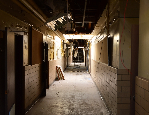 Abandoned school hallway
