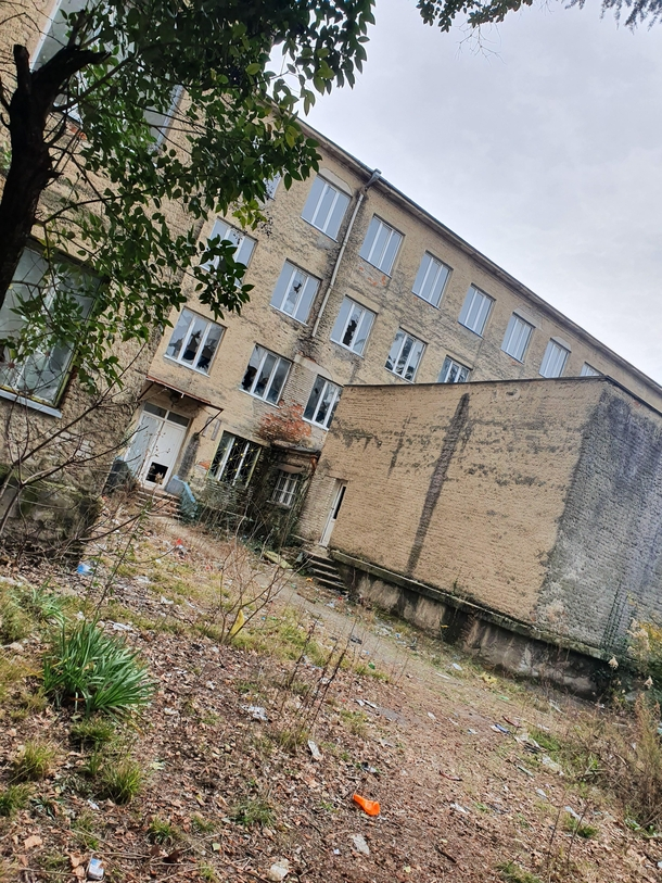 Abandoned school where satanists often hang out