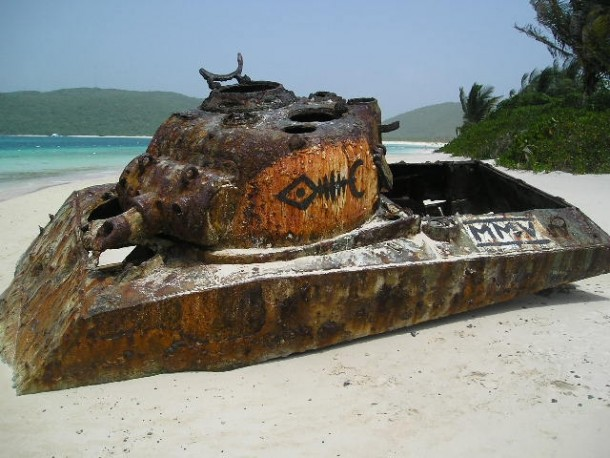 Abandoned WWII US Army tank on iconic Flamenco Beach Culebra Puerto Rico