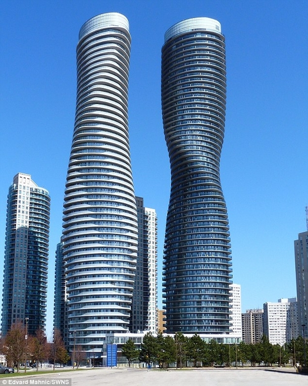 Absolute World buildings Larger one is known as Marilyn Monroe tower in Mississauga ON by Burka Architects MAD Architects