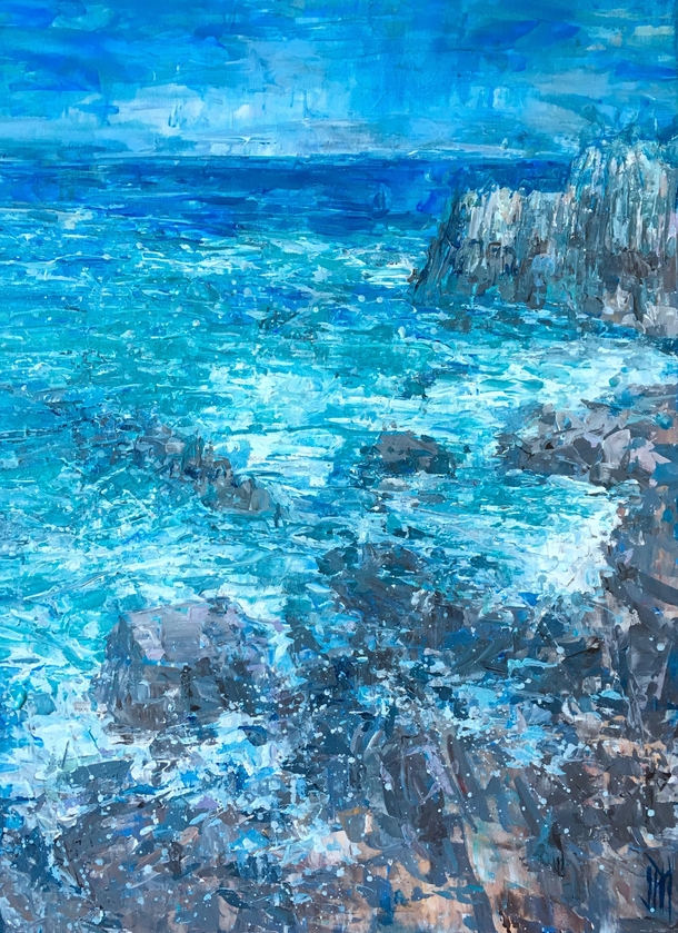 Acrylic painting of the waves at Pacific Grove California