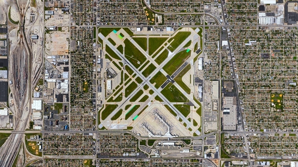 Aerial view of Chicago Midway International Airport