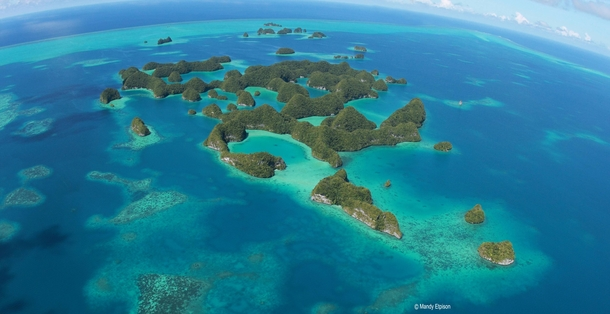 Aerial view of the Rock Islands of Palau -  - Mandy Etpison