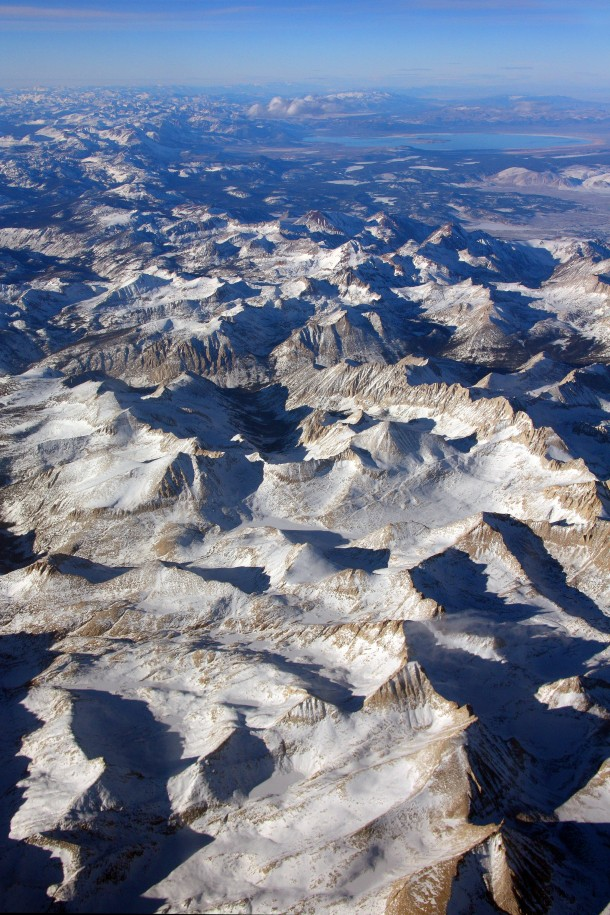 Aerial view of the Sierra Nevada mountain range US on an exceptionally clear day Looking NNW with Mills Creek cirque at center