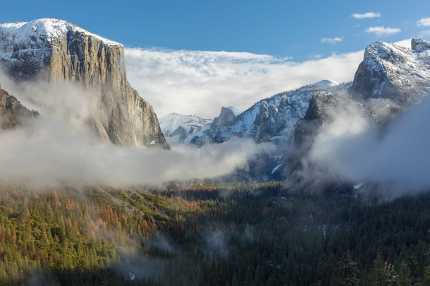 After  hours of waiting this morning at Tunnel View the storm cleared up and I was greeted with this incredible view of the Yosemite Valley