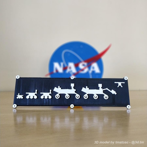 After Perseverance landed Dr Moogega Cooper shared on her Twitter moogega a picture of one of the plates on the rover Based on that picture I tried to replicate the design and made a D printable version of the plate showing the evolution of the rovers on