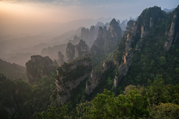 Almost got stuck taking photos on top of Zhangjiajie when the park closed at sunset worth it