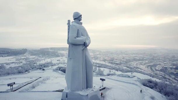 Alyosha is a  ft monument in Murmansk Russia to Soviet soldiers sailors and airmen of World War II