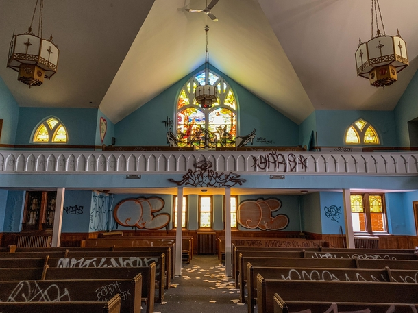 An abandoned church in Northern Michigan known for its blue interior