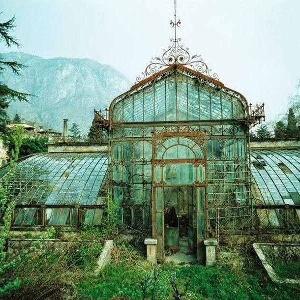 An abandoned Victorian greenhouse