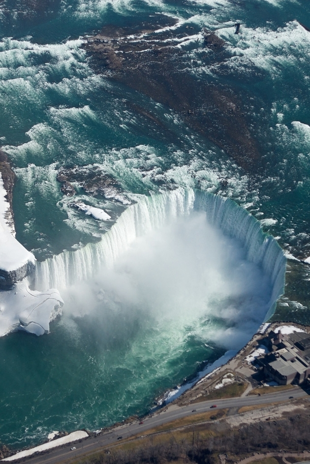 An aerial view of Niagara Falls in the winter Border of Ontario Canada amp New York USA