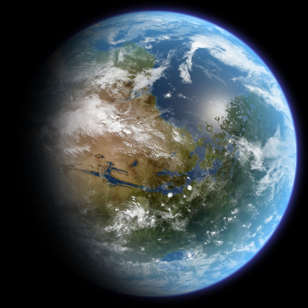 An artists impression of a terraformed Mars centered over Valles Marineris The Tharsis region can be seen of the left side of the globe